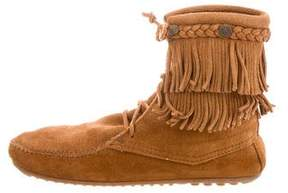 Minnetonka Suede Lace-Up Booties