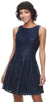 Speechless Juniors' Sequin Lace Skater Dress