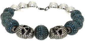 Artisan Women's Cool Skull and Diamond Ball Bracelet