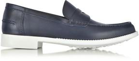 a. testoni A.Testoni Navy Leather Moccasin Shoe