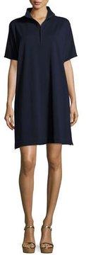 Joan Vass Short-Sleeve Piqué Dress