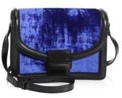 Dries Van Noten Velvet & Leather Shoulder Bag