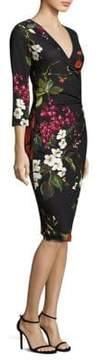 Escada Dimolas Floral-Print Jersey Faux-Wrap Dress