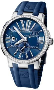 Ulysse Nardin Executive Dual Time Blue Dial Diamond Bezel Blue Rubber Men's Watch 243-00B-3-43
