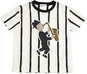 Stripes Print Cotton Jersey T-Shirt