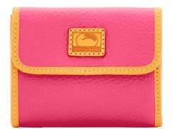 Dooney & Bourke Patterson Leather Small Flap Credit Card Wallet - HOT PINK - STYLE
