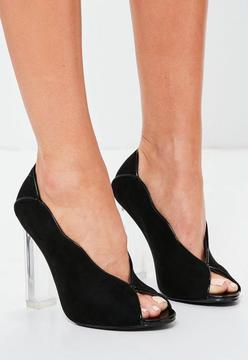 Missguided Black Clear Heel Peep toe Pumps