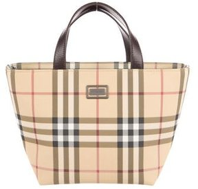 Burberry Mini Nova Check Tote - BROWN - STYLE