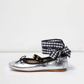 River Island Womens Silver ankle ribbon ballet flats