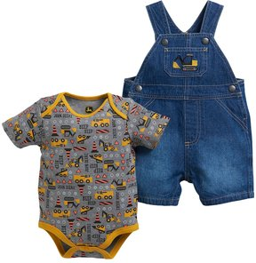 John Deere Baby Boy Construction Bodysuit & Denim Shortalls Set