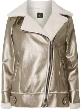 Dorothy Perkins Rose Gold Metallic Faux Shearling Biker Jacket