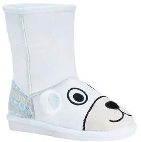 Muk Luks Toddler Girls' Snowball Polar Bear Shearling Style Boots - White