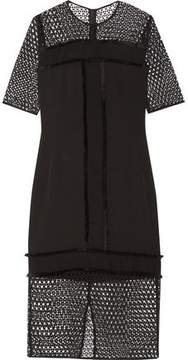 By Malene Birger Katnesa Fringed Crepe De Chine And Crocheted Lace Dress