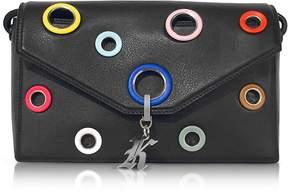 Christopher Kane Multi Eyelet Devine Black Leather Shoulder Bag