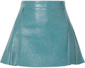 Chloé Pleated Leather Mini Skirt - Blue