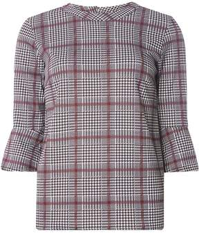 Dorothy Perkins Wine Red Checked Jersey Flute Sleeve Top