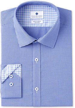 Ryan Seacrest Distinction Men's Slim-Fit Stretch Non-Iron Navy Diagonal Dobby Dress Shirt, Created for Macy's