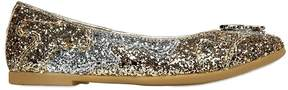 Roberto Cavalli Glittered Leather Ballerina Flats