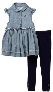 Calvin Klein Gauze Tunic & Leggings Set (Little Girls)
