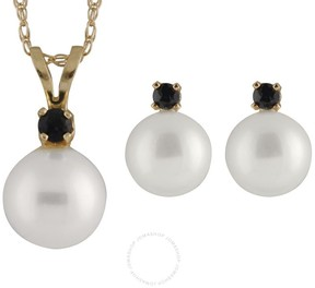 Bella Pearl 14K Gold Sliding Freshwater Pearl and Sapphire Pendant and Earring Set