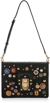 Dolce & Gabbana Crystal Embellished Leather Shoulder Bag