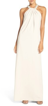 Dessy Collection Women's Beaded Halter Neck Crepe Gown