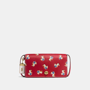 COACH DINKY IN GLOVETANNED LEATHER WITH DUCK PRINT - BRASS/1941 RED