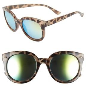 BP Junior Women's 52Mm Oversize Mirrored Sunglasses - Green/grey Tort