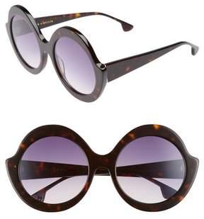 Alice + Olivia Women's Stacey 56Mm Round Gradient Lens Sunglasses - Dark Tortoise