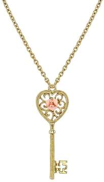1928 Porcelain Rose Key Necklace