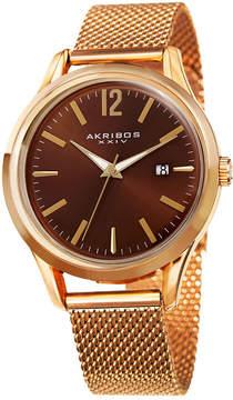 Akribos XXIV Mens Gold Tone Bracelet Watch-A-920ygbr