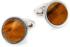 Jan Leslie Men's Tigers Eye & Sterling Silver Pyramid Cufflinks