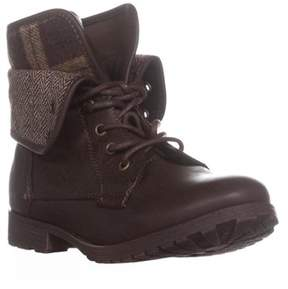 Rock & Candy Spraypaint Foldover Ankle Boots, Brown Plaid.