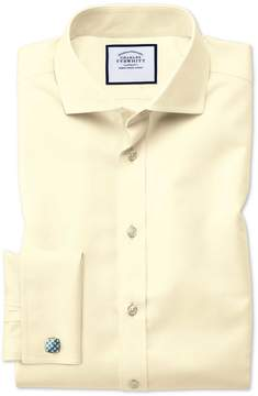 Charles Tyrwhitt Extra Slim Fit Spread Collar Non-Iron Twill Yellow Cotton Dress Shirt French Cuff Size 14.5/33