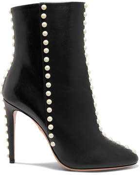 Aquazzura Follie Pearls Leather Ankle Boots - Black