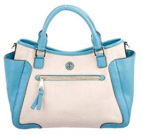 Tory Burch Leather-Trimmed Canvas Satchel
