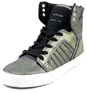Supra Skytop Youth Leather Silver Fashion Sneakers.