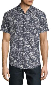 Report Collection Men's Island Tropical Cotton Button-Down Shirt
