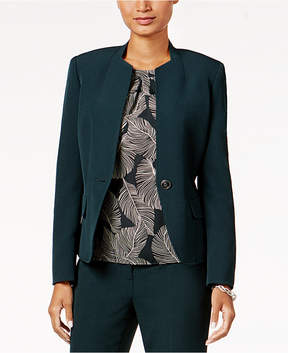 Kasper Petite Stretch Crepe One-Button Blazer