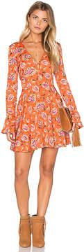 J.o.a. Long Sleeve V Neck Floral Dress
