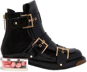 Alexander McQueen 30mm Brushed Leather Boots W/ Plexi Heel