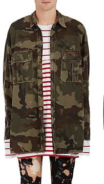 Faith Connexion Men's Camouflage Cotton Oversized Military Shirt