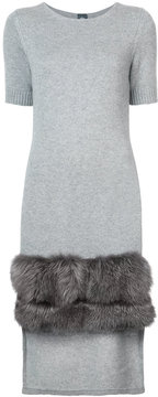 Eleventy fox fur trimmed dress