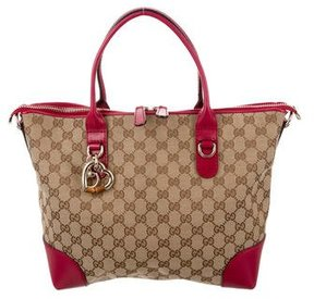 Gucci GG Canvas Heart Bit Tote - BROWN - STYLE