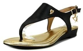 Thalia Sodi Isaap Women Open Toe Leather Black Thong Sandal.