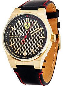 Ferrari Men's Black Leather Strap Speciale 3H Watch