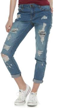 Almost Famous Juniors' Destructed Rolled Jeans