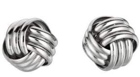 Alpha A A Sterling Silver Shiny Love Knot Earring with Rhodium Finish 10.0mm