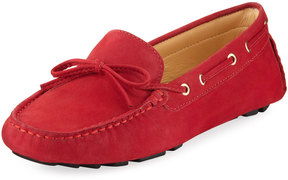 Neiman Marcus Alana Leather Flat Driver, Red