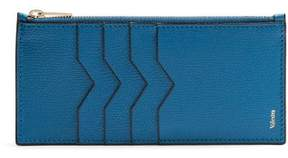 Valextra Contrast Edge Grained Leather Coin Purse - Womens - Blue